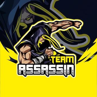 Logo de jeu esport mascotte assassin