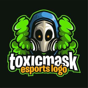 Logo de jeu d'esport de masque toxique