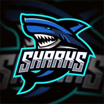Logo de jeu d'esport de requin bleu