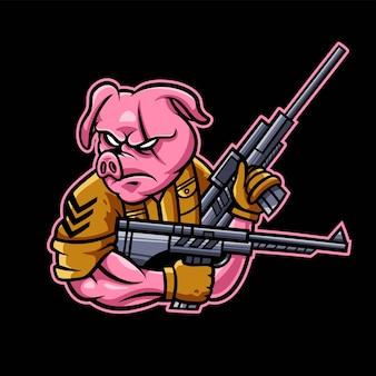 Logo de jeu d'esport de soldat de cochon