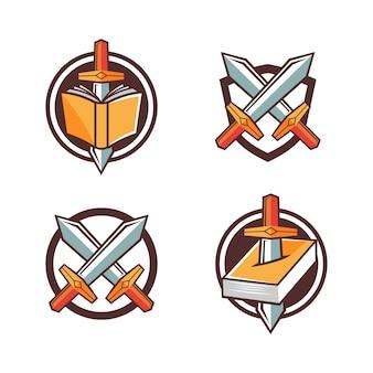 Logo de jeu fantastique style épée et livre symbole dessin animé