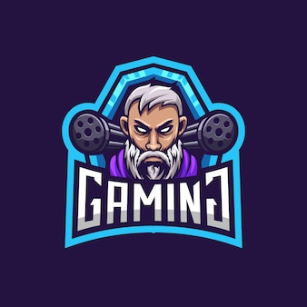 Logo de jeu homme combattant barbe