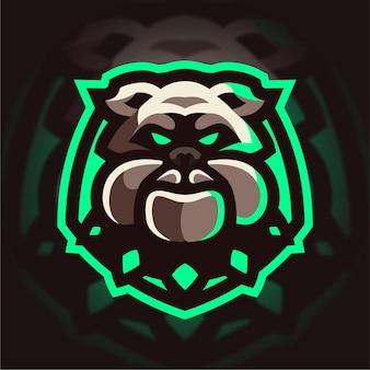 Logo de jeu mascotte bulldog en colère
