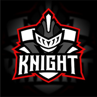 Logo de jeu de mascotte de chevalier