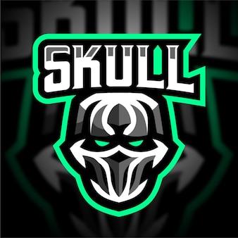 Logo de jeu de mascotte de crâne