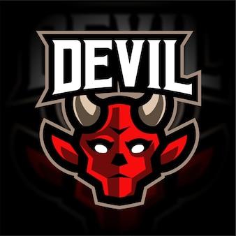 Logo de jeu de mascotte de diable