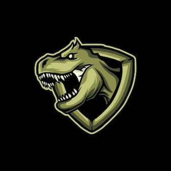 Logo de jeu de mascotte de dinosaure