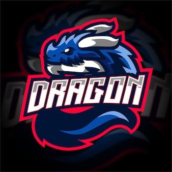 Logo De Jeu De Mascotte De Dragon Bleu Vecteur Premium