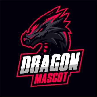 Logo de jeu de la mascotte de dragon noir