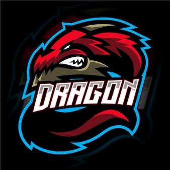 Logo de jeu de mascotte de dragon rouge