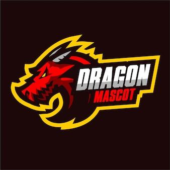 Logo de jeu de la mascotte du dragon rouge