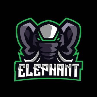 Logo de jeu de mascotte d'éléphant
