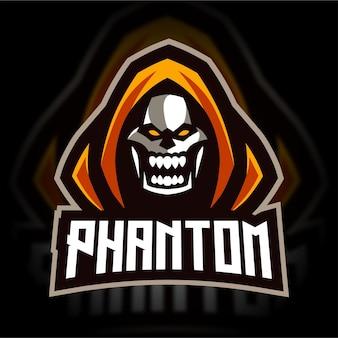 Logo de jeu de mascotte fantôme de rage
