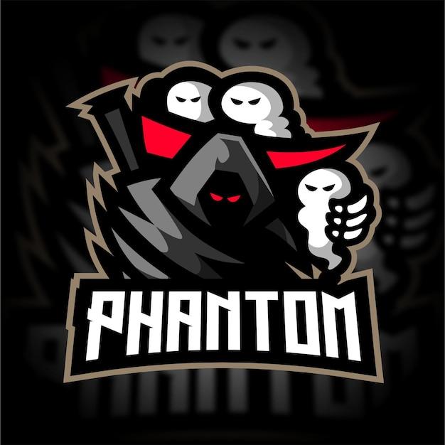 Logo de jeu de mascotte fantôme