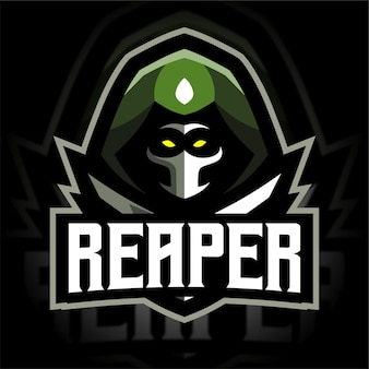 Logo de jeu de mascotte de faucheur de soldat