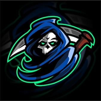 Logo de jeu de mascotte grim reaper