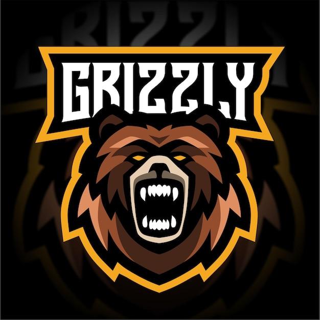 Logo de jeu mascotte grizzly en colère