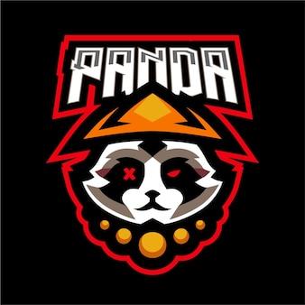 Logo de jeu de mascotte de guerrier de panda