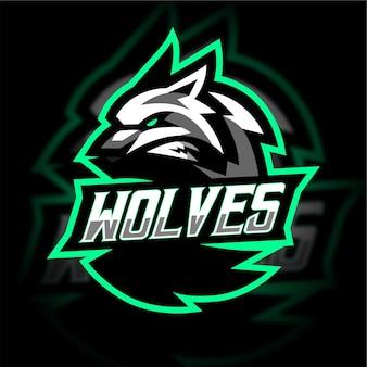 Logo de jeu de mascotte de loups blancs