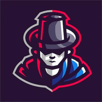 Logo de jeu de mascotte mafia