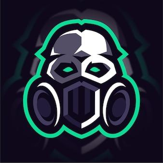 Logo de jeu de mascotte de masque de crâne