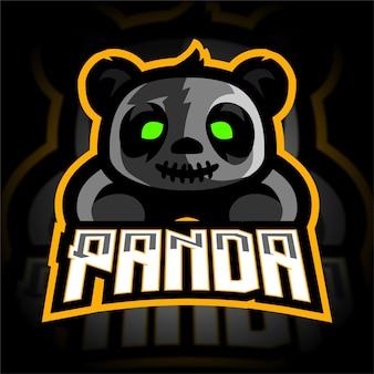 Logo de jeu de mascotte de panda de zombie