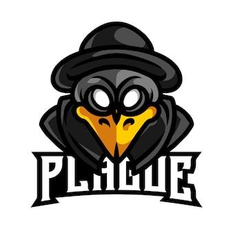 Logo de jeu de mascotte de peste