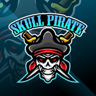 Logo de jeu de mascotte de pirates de crâne