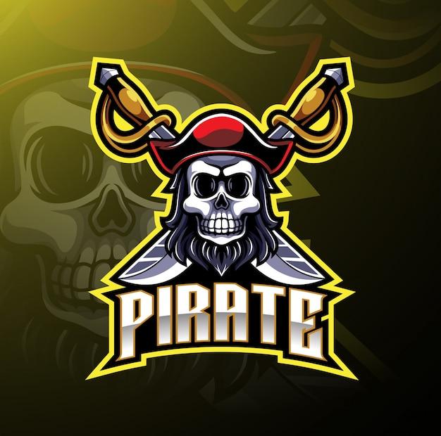 Logo de jeu de la mascotte pirates
