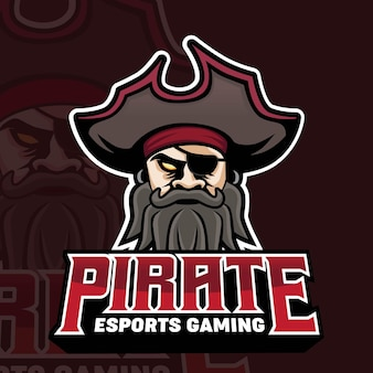 Logo de jeu de mascotte de pirates