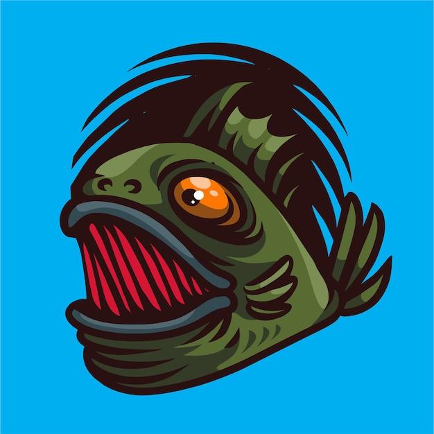 Logo de jeu de mascotte de poisson monstre