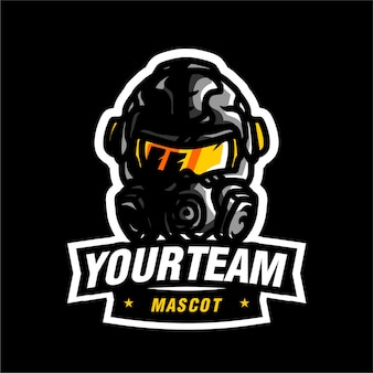 Logo de jeu de la mascotte sholdier moderne
