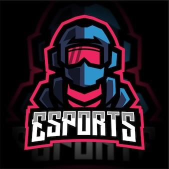 Logo de jeu de mascotte de soldat moderne