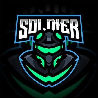 Logo de jeu de mascotte de soldat