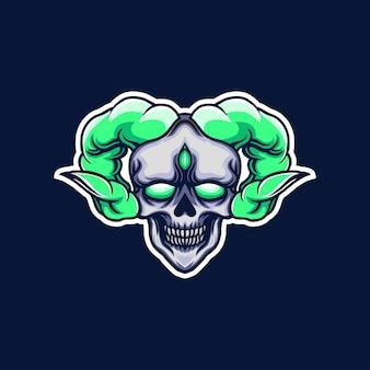Logo de jeu de mascotte tête de mort