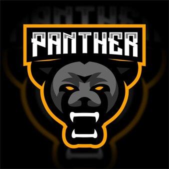 Logo de jeu mascotte tête de panthère