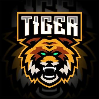 Logo de jeu de mascotte de tigre en colère