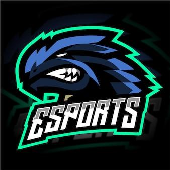 Logo de jeu mascotte tirex bleu