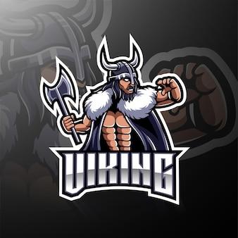 Logo de jeu de la mascotte viking