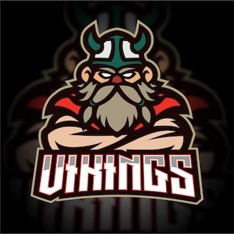 Logo de jeu de mascotte viking