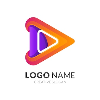 Logo de jeu de médias de flèche, coloré