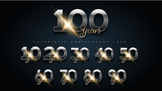 Logo de jeu de numéros anniversaire or et argent de luxe de 100 ans