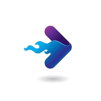 Logo de jeu rapide avec le feu