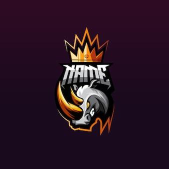 Logo de jeu rhino premium