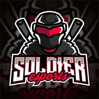 Logo de jeu de soldat esport