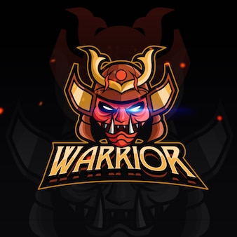 Logo de jeu de sport red warrior