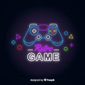 Logo de jeu vintage néons
