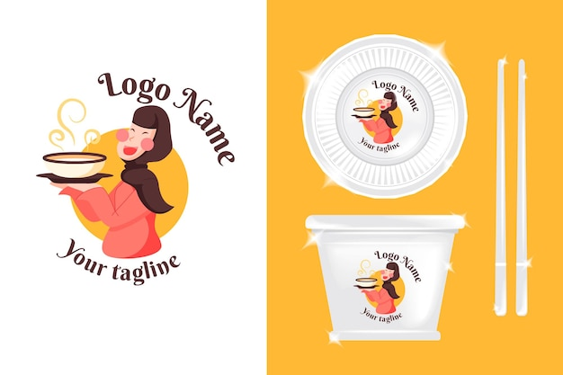 Logo jolie fille pour les affaires culinaires