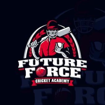 Logo de joueur de sport de l'académie de cricket