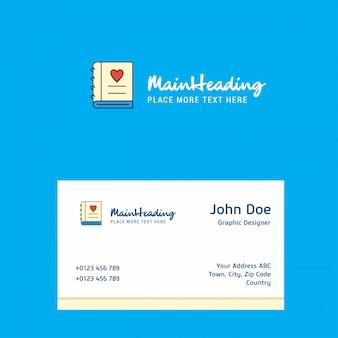 Logo de journal d'amour avec le modèle de carte de visite. identité d'entreprise élégante. -